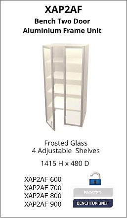 XAP2AF Frosted Glass 4 Adjustable  Shelves 1415 H x 480 D Bench Two Door Aluminium Frame Unit