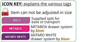 ICON KEY: explains the various tags  Item can not be adjusted in size ANTARO WHITE drawer system by blum METABOX drawer system by blum ease of transport  Supplied split for